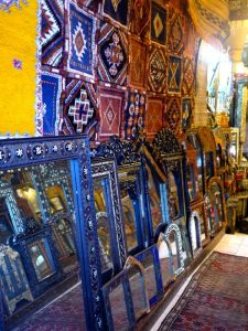 Blue and yellow accessories in the souk